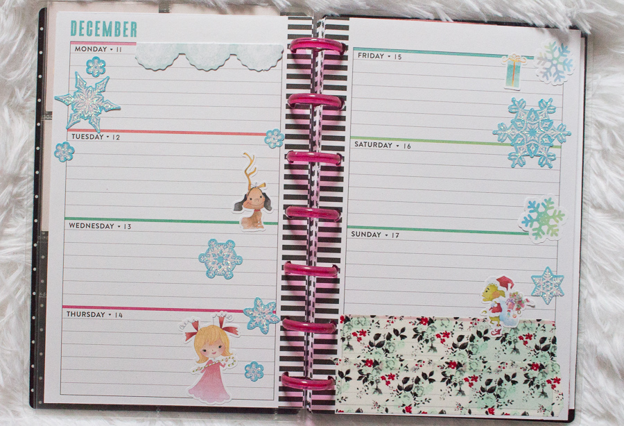 Mini Happy Planner Weekly Spread feat. Polished Patterns | The Grinch stickers | JM Creates Blog