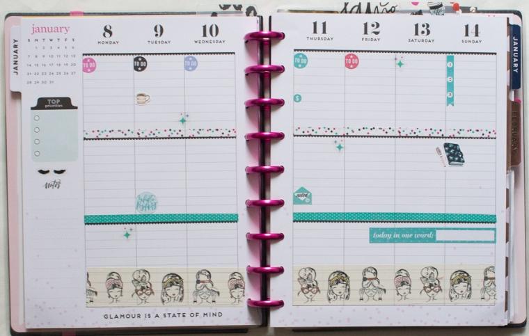 Happy Planner Weekly Spread | Glam Girl | Jan 2018 | JM Creates Blog