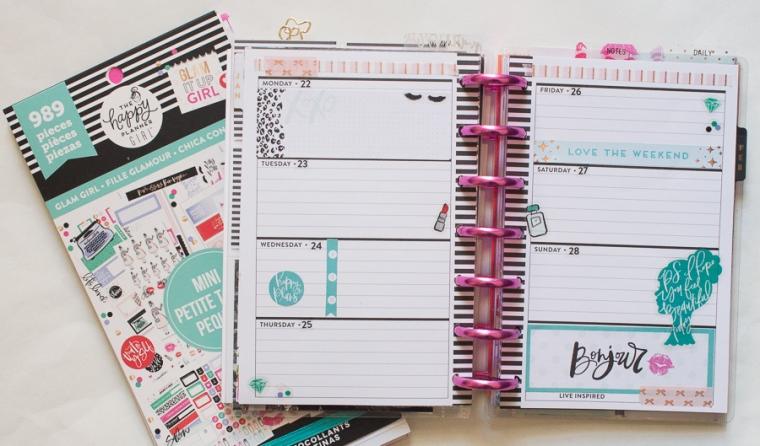 Mini Happy Planner Weekly Spread feat. Glam Girl | JM Creates Blog