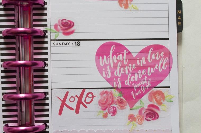 Mini Happy Planner Weekly Spread | Valentine's Day | JM Creates Blog