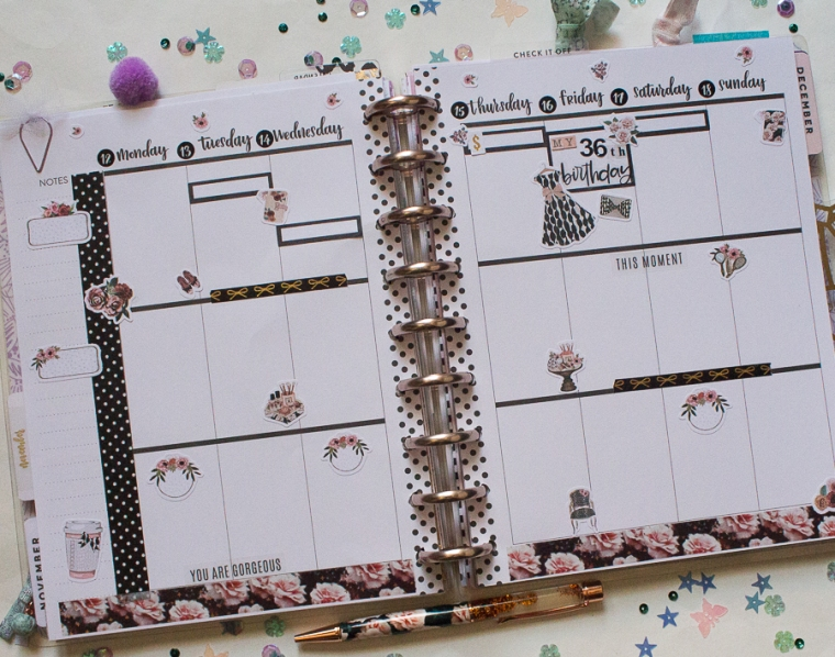 Happy Planner Weekly Spread | Birthday Week | Created by Jen Blog