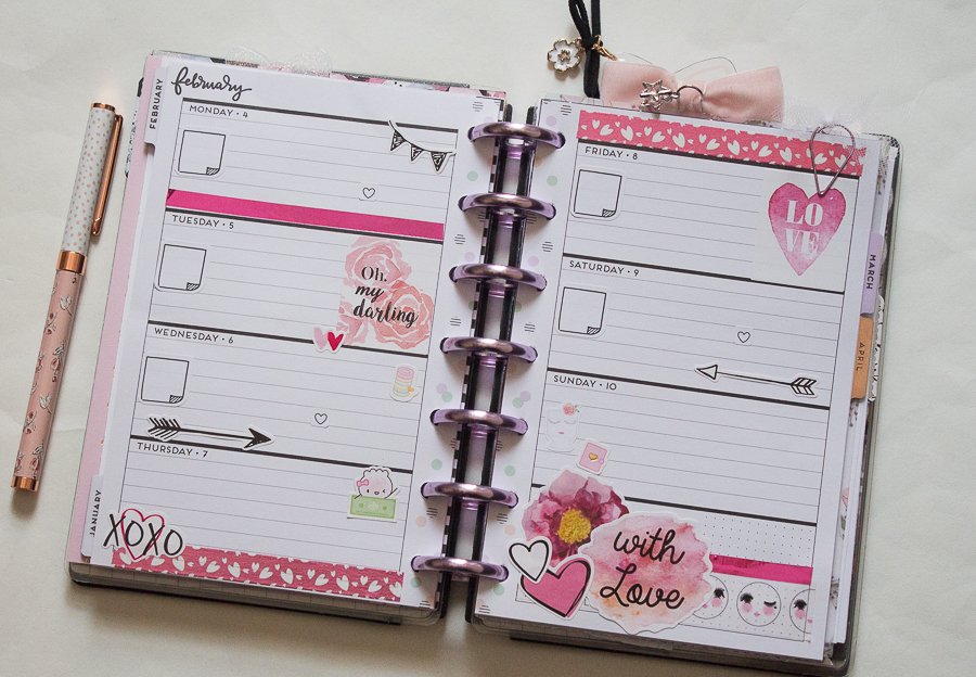Mini Happy Planner Weekly Spread | Valentine | Created by Jen Blog